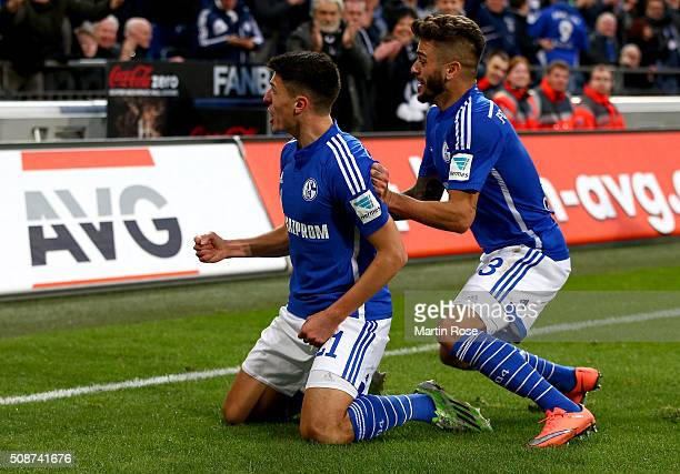 Alessandro Schoepf of Schalke celebrate with his team mates after scoring the 3rd goal during the Bundesliga match between FC Schalke 04 and VfL...