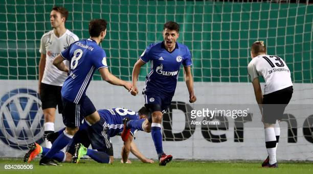 Alessandro Schoepf of Schalke celebrates after he scores the opening goal during the DFB Cup Round of16 match between SV Sandhausen and FC Schalke 04...