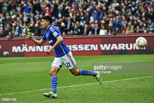 Alessandro Schoepf of Schalke celebrates scoring his goal with teamates during the Bundesliga match between Hannover 96 and FC Schalke 04 at the HDI...