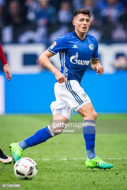 Alessandro Schoepf of Schalke in action during the Bundesliga match between FC Schalke 04 and RB Leipzig at VeltinsArena on April 23 2017 in...