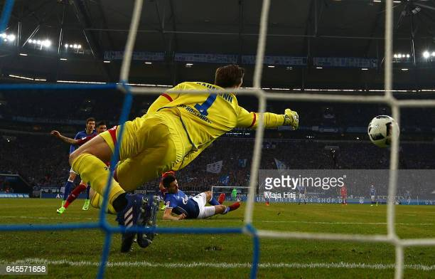 Alessandro Schoepf of Schalke iscores his goal during the Bundesliga match between FC Schalke 04 and TSG 1899 Hoffenheim at VeltinsArena on February...