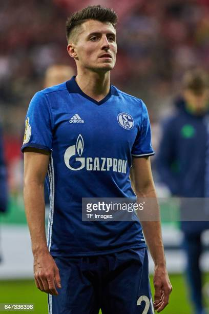 Alessandro Schoepf of Schalke looks dejected after the DFB Cup quarter final between Bayern Muenchen and FC Schalke 04 at Allianz Arena on March 1...