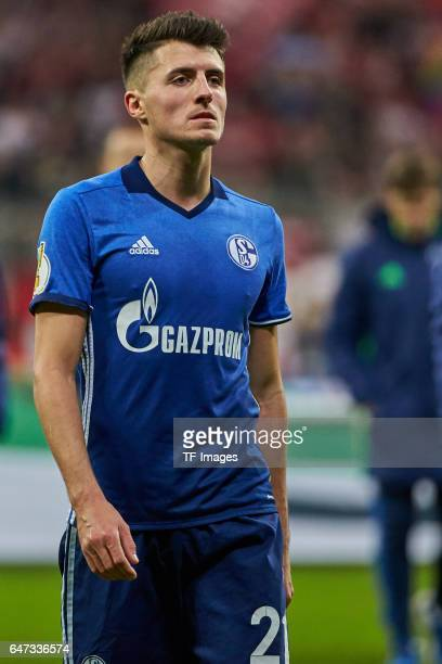 Alessandro Schoepf of Schalke looks on during the DFB Cup quarter final between Bayern Muenchen and FC Schalke 04 at Allianz Arena on March 1 2017 in...