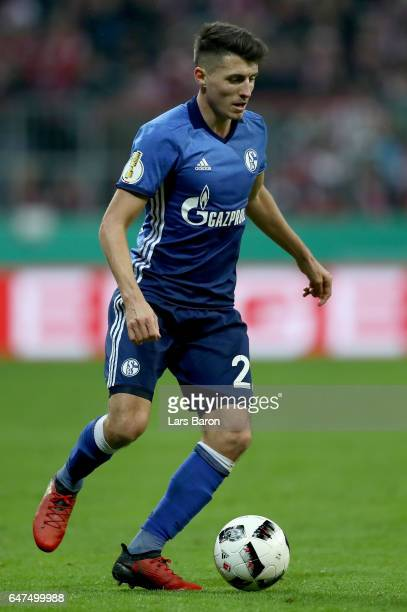 Alessandro Schoepf of Schalke runs with the ball during the DFB Cup quarter final between Bayern Muenchen and FC Schalke 04 at Allianz Arena on March...