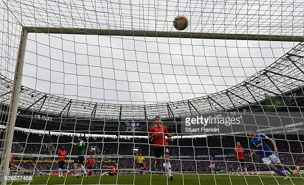 Alessandro Schoepf of Schalke scores his goal during the Bundesliga match between Hannover 96 and FC Schalke 04 at the HDI Arena on April 30 2016 in...