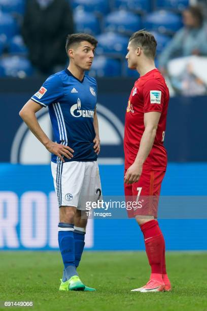 Alessandro Schoepf of Schalke speak with Marcel Sabitzer of Leipzig nach dem Spiel during the Bundesliga match between FC Schalke 04 and RB Leipzig...
