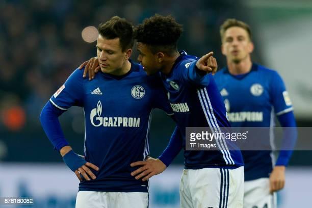 Alessandro Schoepf of Schalke speak with Weston McKennie of Schalke during the Bundesliga match between FC Schalke 04 and Hamburger SV at...