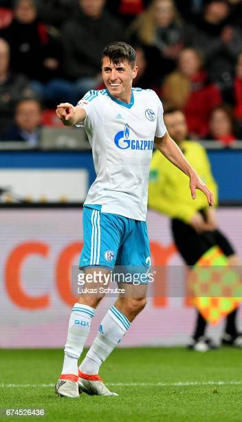 Alessandro Schoepf of Schalkee celebrates after he scores the 3rd goal during the Bundesliga match between Bayer 04 Leverkusen and FC Schalke 04 at...