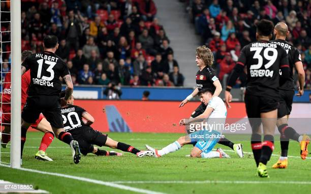 Alessandro Schoepf of Schalkee scores the 2nd goal goal during the Bundesliga match between Bayer 04 Leverkusen and FC Schalke 04 at BayArena on...