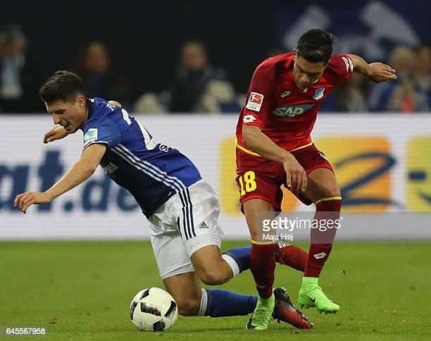 Alessandro Schopf of Schalke is challenged by Nadiem Amiri of Hoffenheim during the Bundesliga match between FC Schalke 04 and TSG 1899 Hoffenheim at...