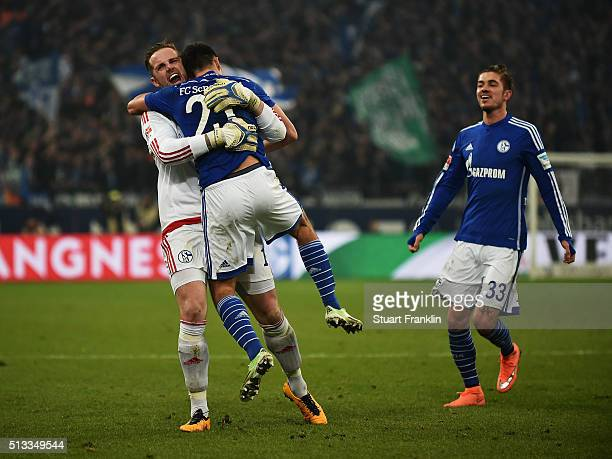 Alessandro Schöpf of Schalke celebrates scoring his goal with Ralf Fährmann during the Bundesliga match between FC Schalke 04 and Hamburger SV at...