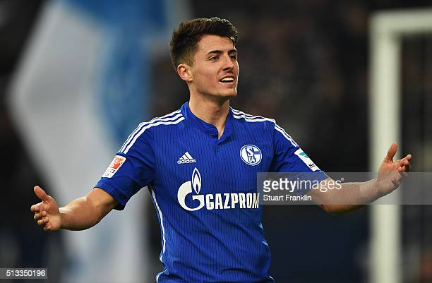 Alessandro Schöpf of Schalke reacts during the Bundesliga match between FC Schalke 04 and Hamburger SV at VeltinsArena on March 2 2016 in...