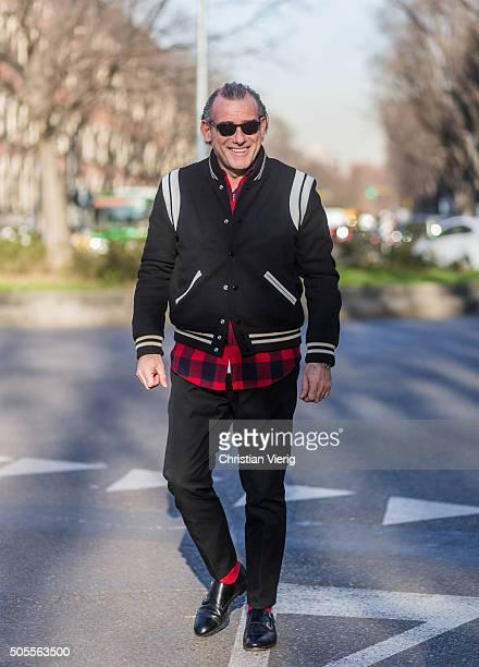 Alessandro Squarzi outside Armani during Milan Men's Fashion Week Fall/Winter 2016/17 on January 18 in Milan Italy