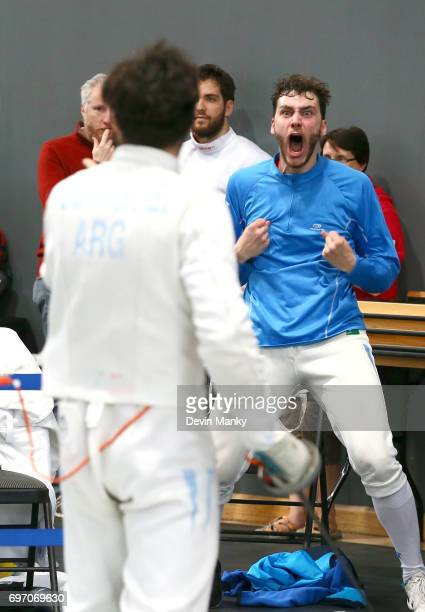 Alessandro Taccani of Argentina screams at his teammates during the Team Men's Epee event on June 17 2017 at the PanAmerican Fencing Championships at...