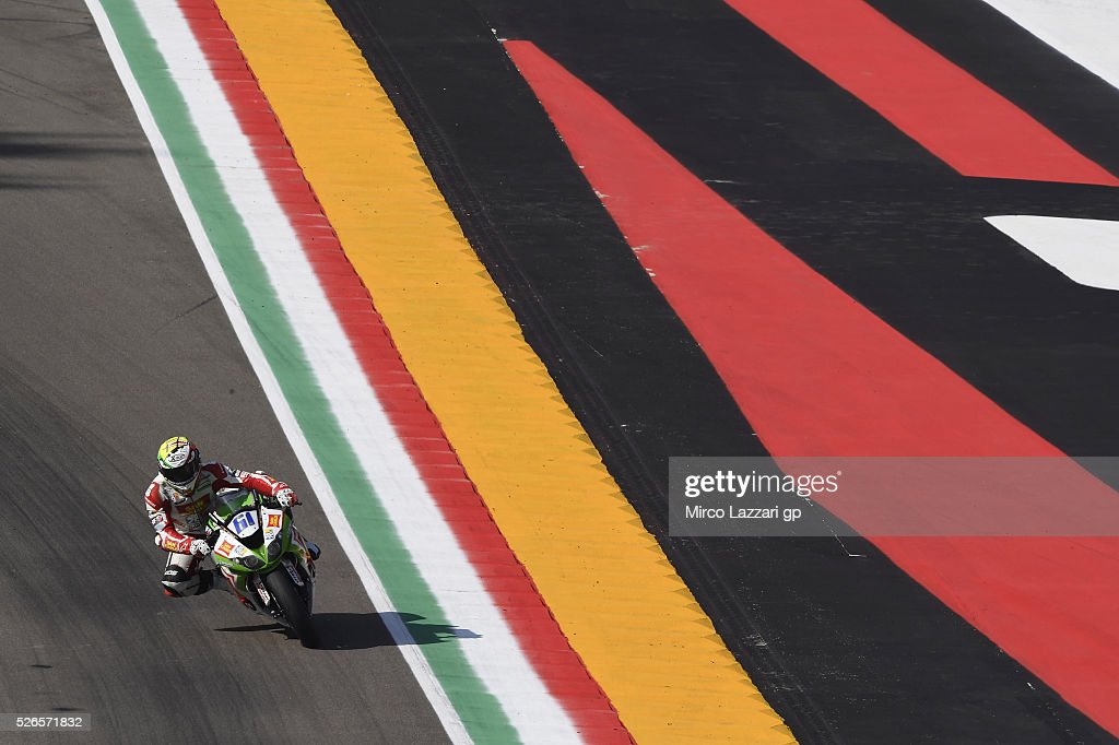 Alessandro Zaccone of Italy and San Carlo Team Italia heads down a straight during the World Superbikes - Qualifying at Enzo & Dino Ferrari Circuit on April 30, 2016 in Imola, Italy.