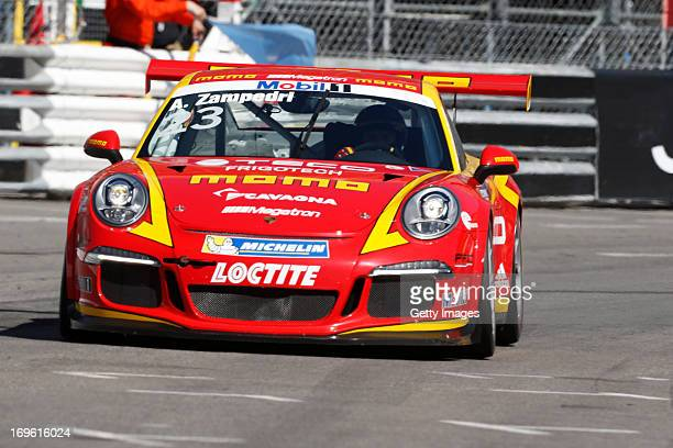 Alessandro Zampedri drives the MomoMegatron Porsche during the Porsche Supercup race prior to the Monaco Formula One Grand Prix at the Circuit de...