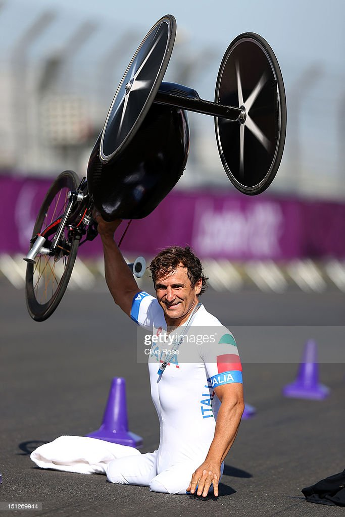 Alessandro Zanardi of Italy celebrates winning the Men's Individual H4 Time Trial on day 7 of the London 2012 Paralympic Games at Brands Hatch on...