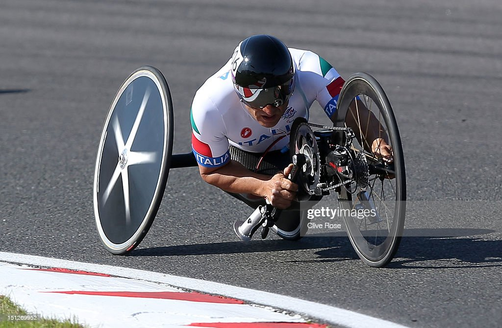 Alessandro Zanardi of Italy competes in the Men's Individual H4 Time Trial on day 7 of the London 2012 Paralympic Games at Brands Hatch on September...