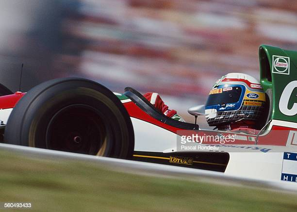 Alessandro Zanardi of Italy drives the Lotus Lotus 107B Ford HBD6 V8 during the Mobil 1 German Grand Prix on 25 July 1993 at the Hockenheimring...