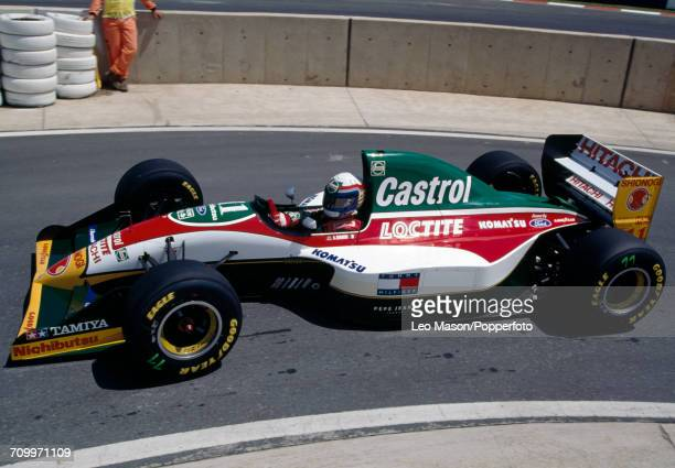 Alessandro Zanardi of Italy in action driving a Lotus 107B with a Ford HBD6 35 V8 engine for Team Lotus during the South African Grand Prix at...