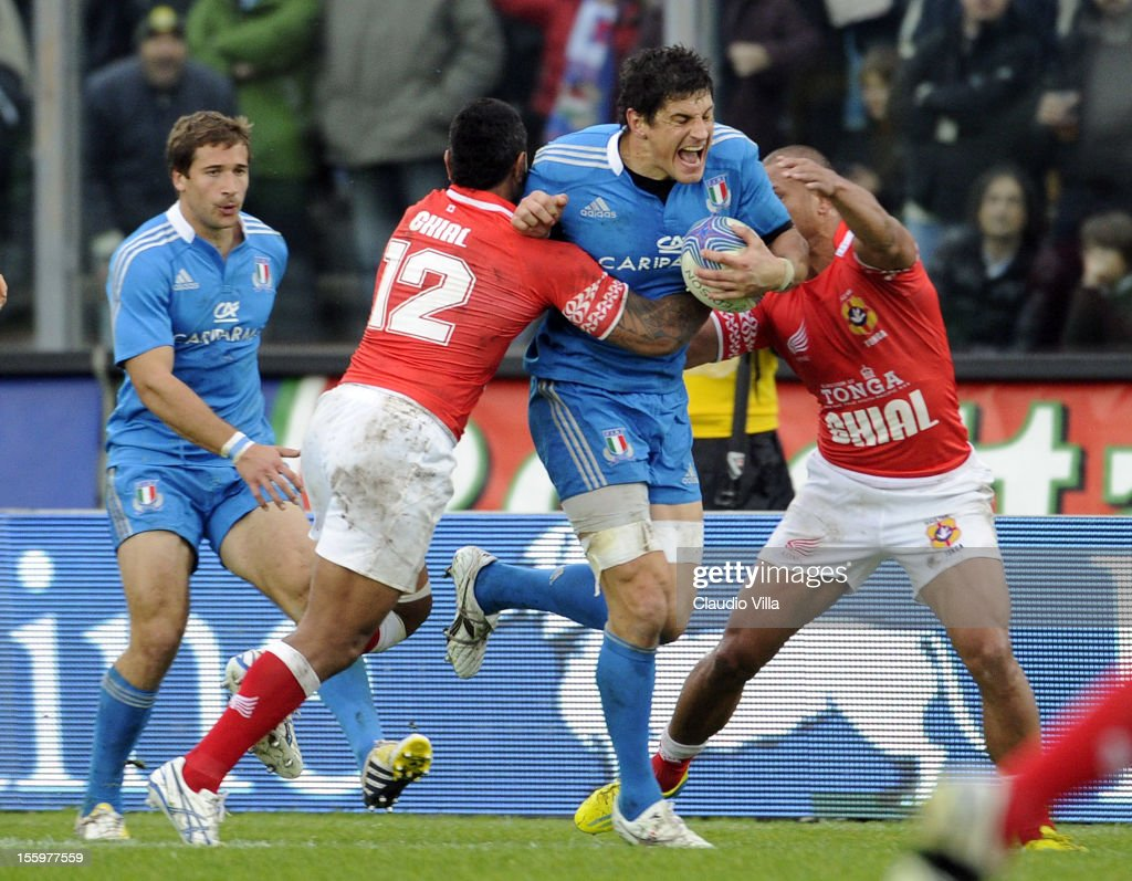 Alessandro Zanni of Italy during the international test match between Italy and Tonga at Mario Rigamonti Stadium on November 10, 2012 in Brescia, Italy.