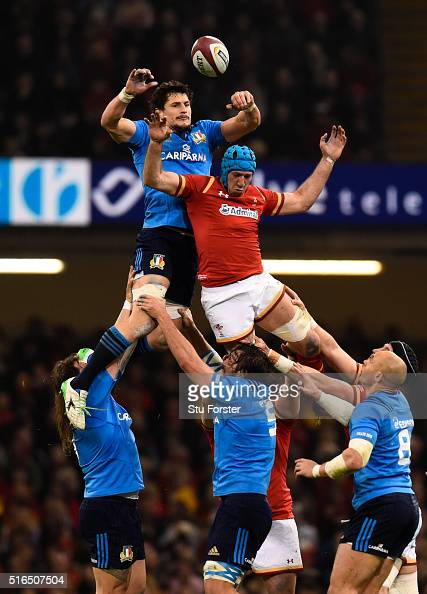 Alessandro Zanni of Italy wins lineout ball under pressure from Justin Tipuric of Wales during the RBS Six Nations match between Wales and Italy at...
