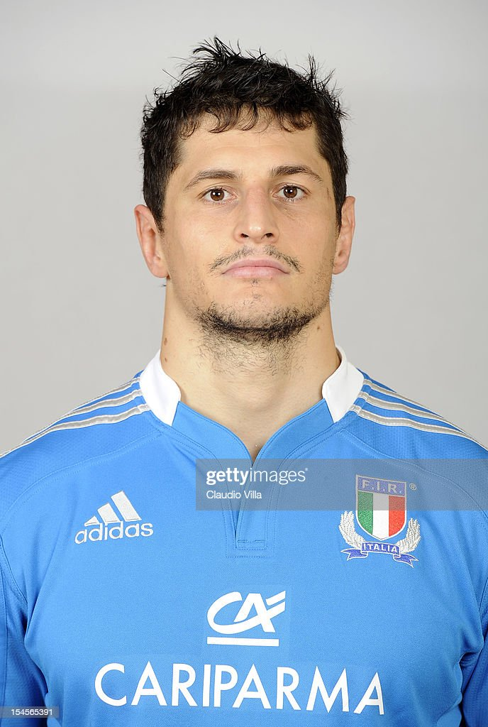 <a gi-track='captionPersonalityLinkClicked' href=/galleries/search?phrase=Alessandro+Zanni&family=editorial&specificpeople=876591 ng-click='$event.stopPropagation()'>Alessandro Zanni</a> poses during a Italy Rugby Union player portrait session on October 22, 2012 in Rome, Italy.