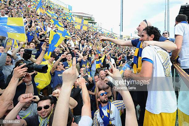 AlessandroLucarelli captainof Parma celebrates with supporters after the Serie D match between Parma Calcio 1913 and Delta Rovigo at Stadio Tardini...