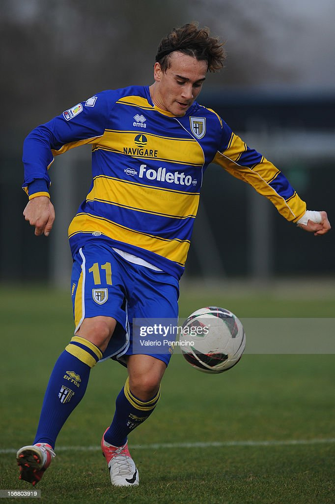 Alessandroni of FC Parma in action during the Juvenile match between Juventus FC and FC Parma at Juventus Center Vinovo on November 21, 2012 in Vinovo, Italy.