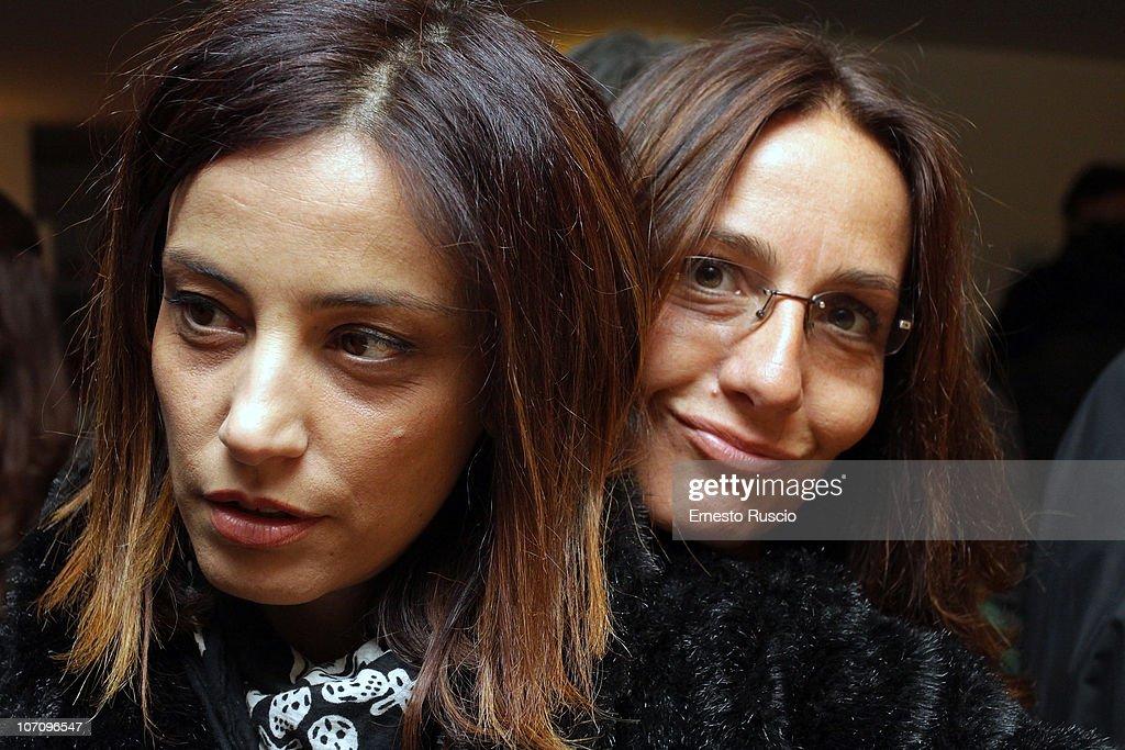 Alessia Barela and Mariasole Tognazzi attend the 'A Letto Dopo Il Carosello' theatre premiere at Teatro 7 on November 23, 2010 in Rome, Italy.