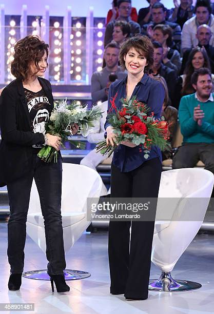 Alessia Barela and Vanessa Compagnucci appear on Italian tv show 'Quelli Che Il Calcio' on December 22 2013 in Milan Italy