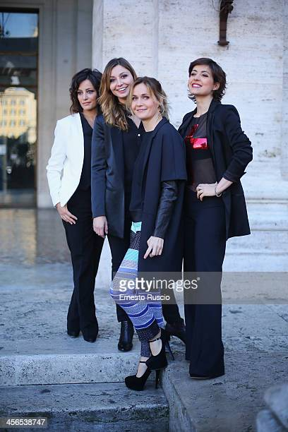 Alessia Barela Anna Farzetti Lucia Mascino and Vanessa Compagnucci attend the 'Il Natale Della Mamma Imperfetta' photocall at Space Moderno on...
