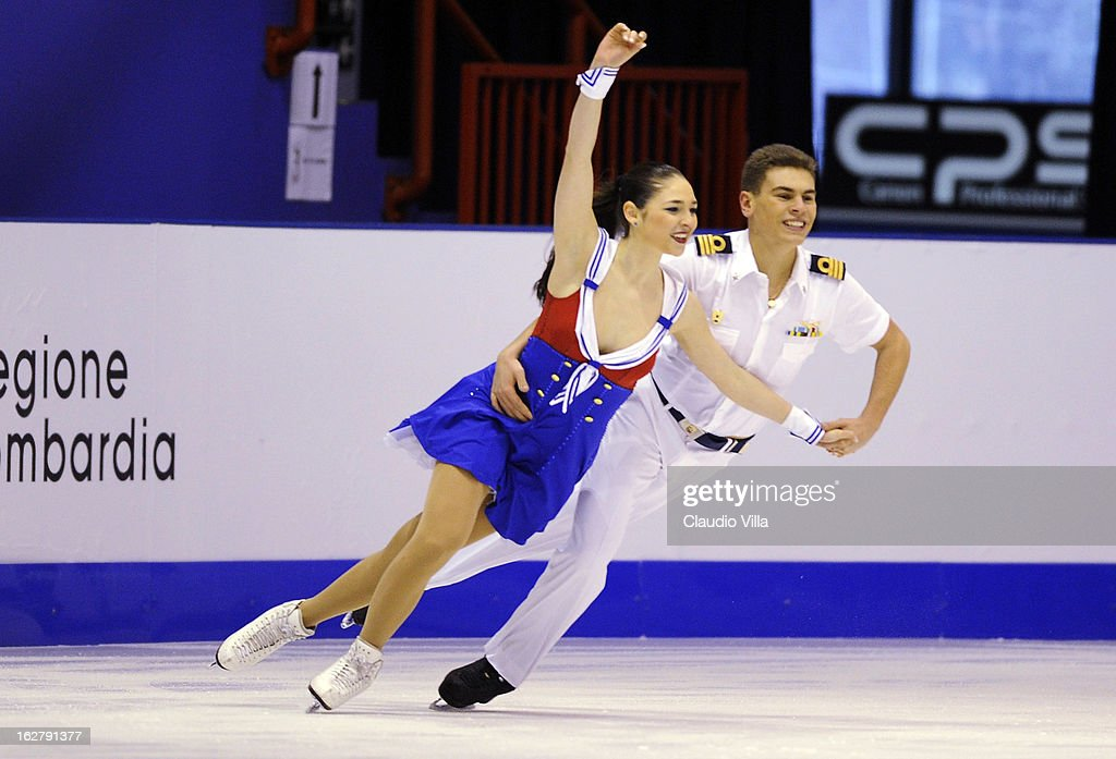 Alessia Busi and Andrea Fabbri of Italy skate in the Ice Dance Short Dance during day 3 of the ISU World Junior Figure Skating Championships at Agora Arena on February 27, 2013 in Milan, Italy.