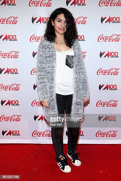 Alessia Cara attends Z100's Jingle Ball 2015 Z100 CocaCola All Access Lounge Backstage at Hammerstein Ballroom on December 11 2015 in New York City