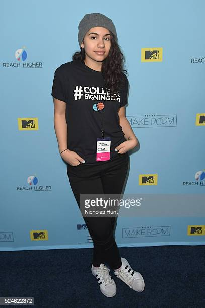 Alessia Cara backstage during the 3rd Annual College Signing Day at the Harlem Armory on April 26 2016 in New York City The event cohosted by MTV was...