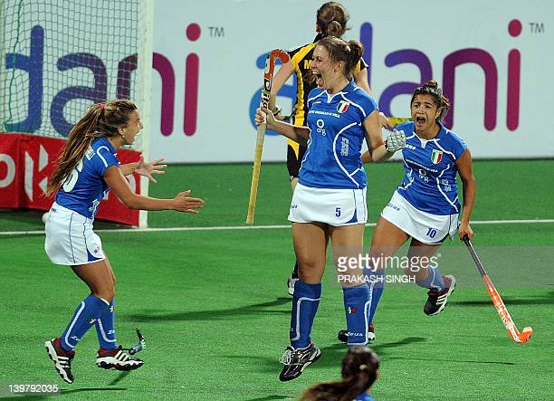 Alessia Doriana Padalino of Italy celebrates a goal during the women's field hockey match between Italy and Ukraine for the third position at the FIH...