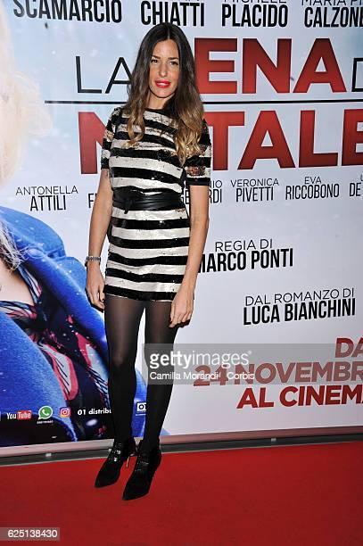 Alessia Fabiani walks a red carpet for 'La Cena Di Natale' on November 22 2016 in Rome Italy