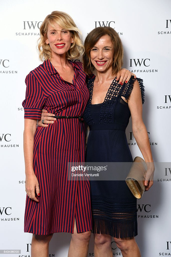<a gi-track='captionPersonalityLinkClicked' href=/galleries/search?phrase=Alessia+Marcuzzi&family=editorial&specificpeople=3958121 ng-click='$event.stopPropagation()'>Alessia Marcuzzi</a> and Silvia Grilli attend IWC Boutique Opening Dinner on June 28, 2016 in Milan, Italy.