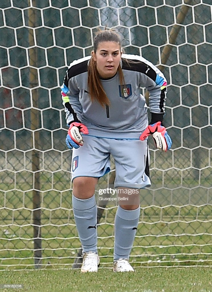Alessia Parnoffi of Italy in action during the Women's U17 international friendly match between Italy and Norway on February 9, 2016 in Cervia, Italy.