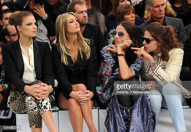 Alessia Piovan Martina Stella Benedetta Mazzini and Lola Schnabel attend the Roberto Cavalli Fashion Show as part of Milan Fashion Week Womenswear...