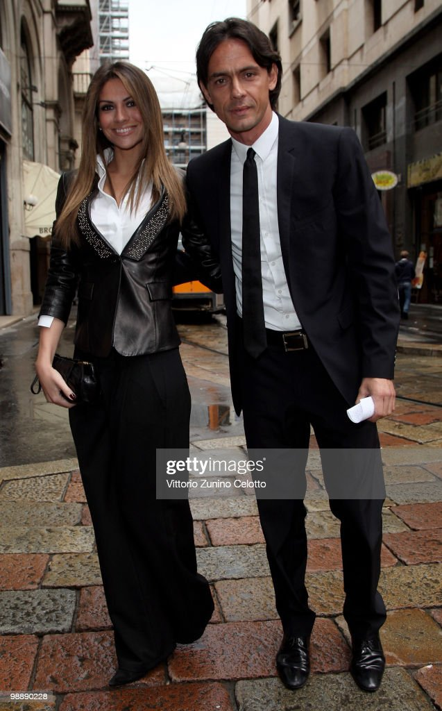 Alessia Ventura and Filippo Inzaghi arrive at Mondadori Multicenter for the 300 Gol Book Launch on May 6 2010 in Milan Italy