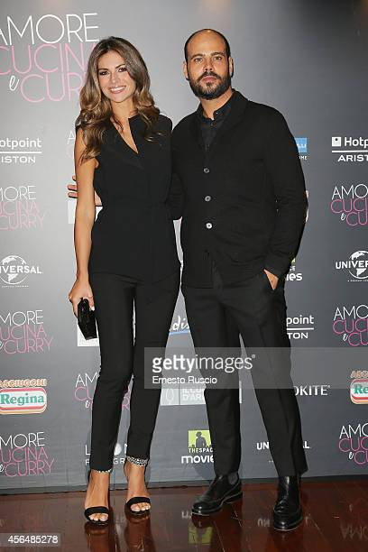 Alessia Ventura and Marco D'Amore attend the 'The HundredFoot Journey' photocall at Hotel Radisson Blu on October 1 2014 in Rome Italy