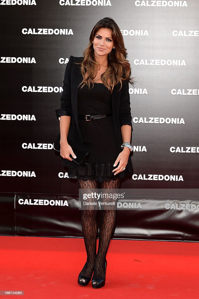 Alessia Ventura arrives at the Calzedonia 'Forever Together' show on April 16, 2013 in Rimini, Italy.
