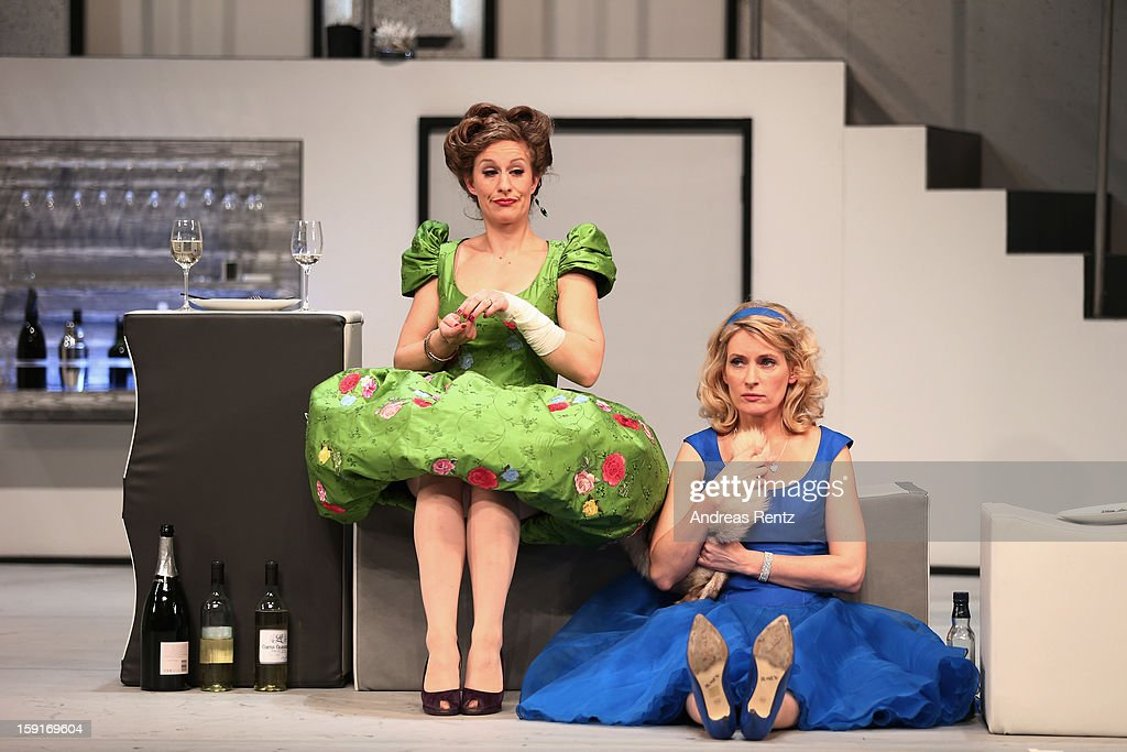 Alessija Lause and Maria Furtwaengler perform during the 'Geruechte...Geruechte...' photo rehearsal at Komoedie am Kurfuerstendamm Theater on January 9, 2013 in Berlin, Germany.