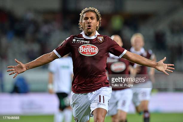 Alessio Cerchi of Torino celebrates after scoring their second goal during the Serie A match between Torino FC and US Sassuolo Calcio at Stadio...