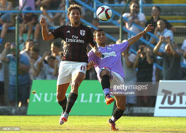 Alessio Cerci of AC Milan competes for the ball during the preseason friendly match between AC Milan and Legnano on July 14 2015 in Solbiate Arno...