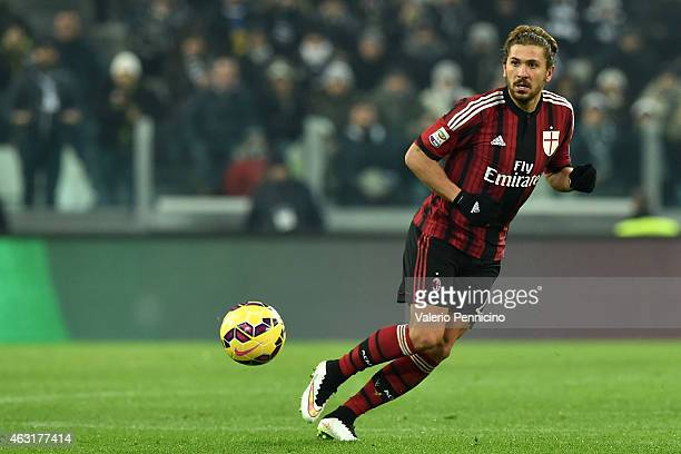 Alessio Cerci of AC Milan in action during the Serie A match between Juventus FC and AC Milan at Juventus Arena on February 7 2015 in Turin Italy