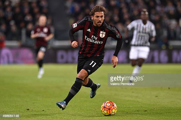 Alessio Cerci of AC Milan in action during the Serie A match between Juventus FC and AC Milan at Juventus Arena on November 21 2015 in Turin Italy