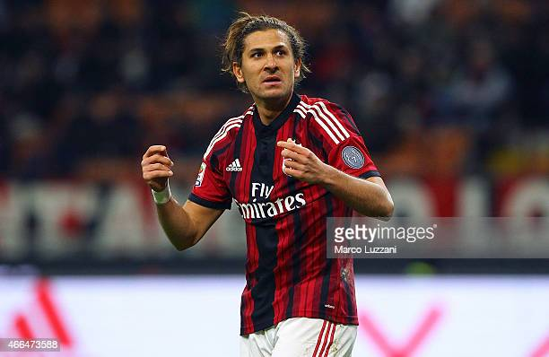 Alessio Cerci of AC Milan looks on during the Serie A match between AC Milan and Hellas Verona FC at Stadio Giuseppe Meazza on March 7 2015 in Milan...
