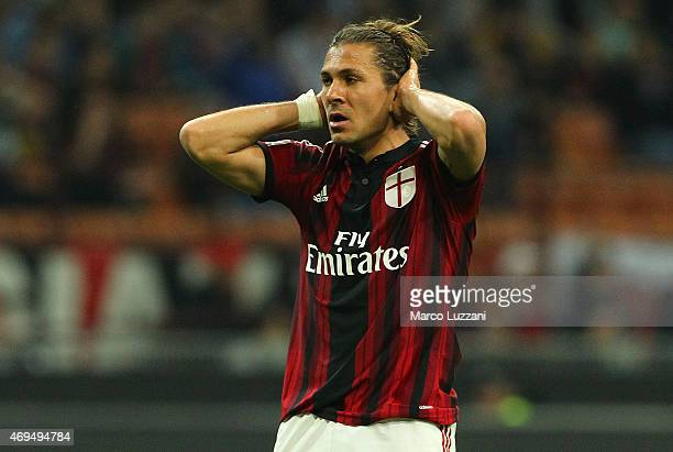 Alessio Cerci of AC Milan reacts to a missed chance during the Serie A match between AC Milan and UC Sampdoria at Stadio Giuseppe Meazza on April 12...